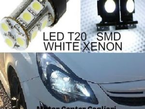 COPPIA LAMPADE A LED SMD T20 W21W 12 V BIANCO GHIACCIO XENON AUTO MOTO