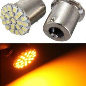 COPPIA LAMPADE LED FILAMENTO BA15S 22 LED SMD LUCE FRECCE GIALLO ARANCIO