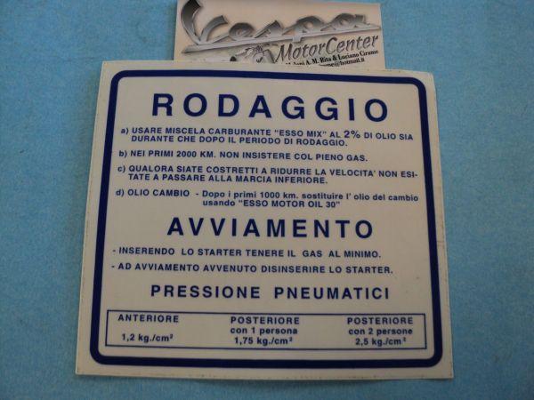 ADESIVO SCUDO BLU RODAGGIO VESPA RALLY 180 200 VSD1 VSE1T