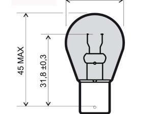 lampadina alogena ba15s arancio 12v 21w