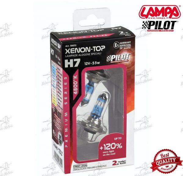 coppia lampade alogena Xenon Top +120% luce - H7 - 55W