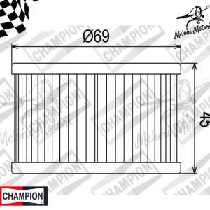cof 011 filtro olio champion honda trx 400 - cb 450 - cmx 450 rebel - cx 500 custom/eruo sports/turbo