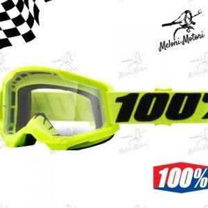 100% strata 2 fluo yellow OFFROAD GOGGLE OCCHIALI MOTARD MOTOCROSS