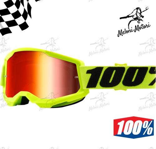 100% strata 2 fluo yellow OFFROAD GOGGLE OCCHIALI MOTARD MOTOCROSS mirror lens